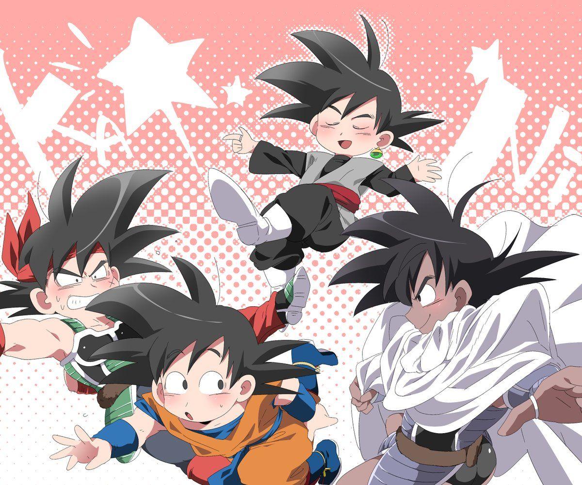Goku, Bardock, Black Goku, And Turles
