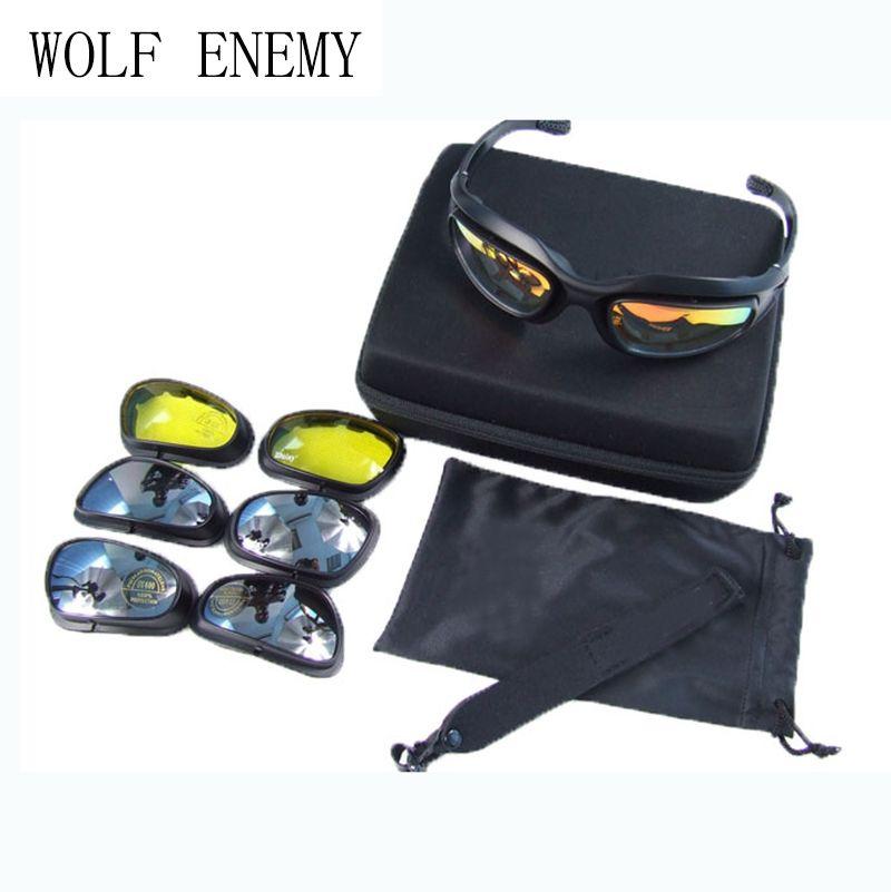 C5 Polarized Tactical Goggles Desert 4 Lenses Outdoor Uv400 Protection Glasses Hunting Military War Game Glasses Orologi E Gioielli