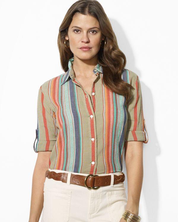 Lauren Ralph Lauren Petites Roll Sleeve Shirt