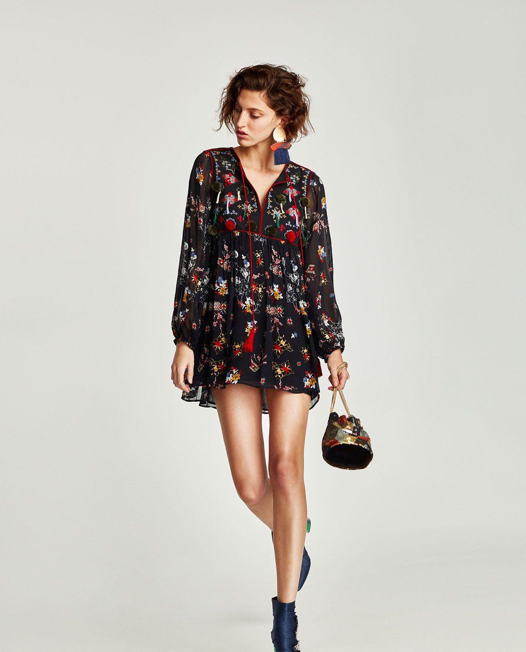 Femme À Shopping Zara France Brodée Nouveautés List Robe Pompons xIdqgg