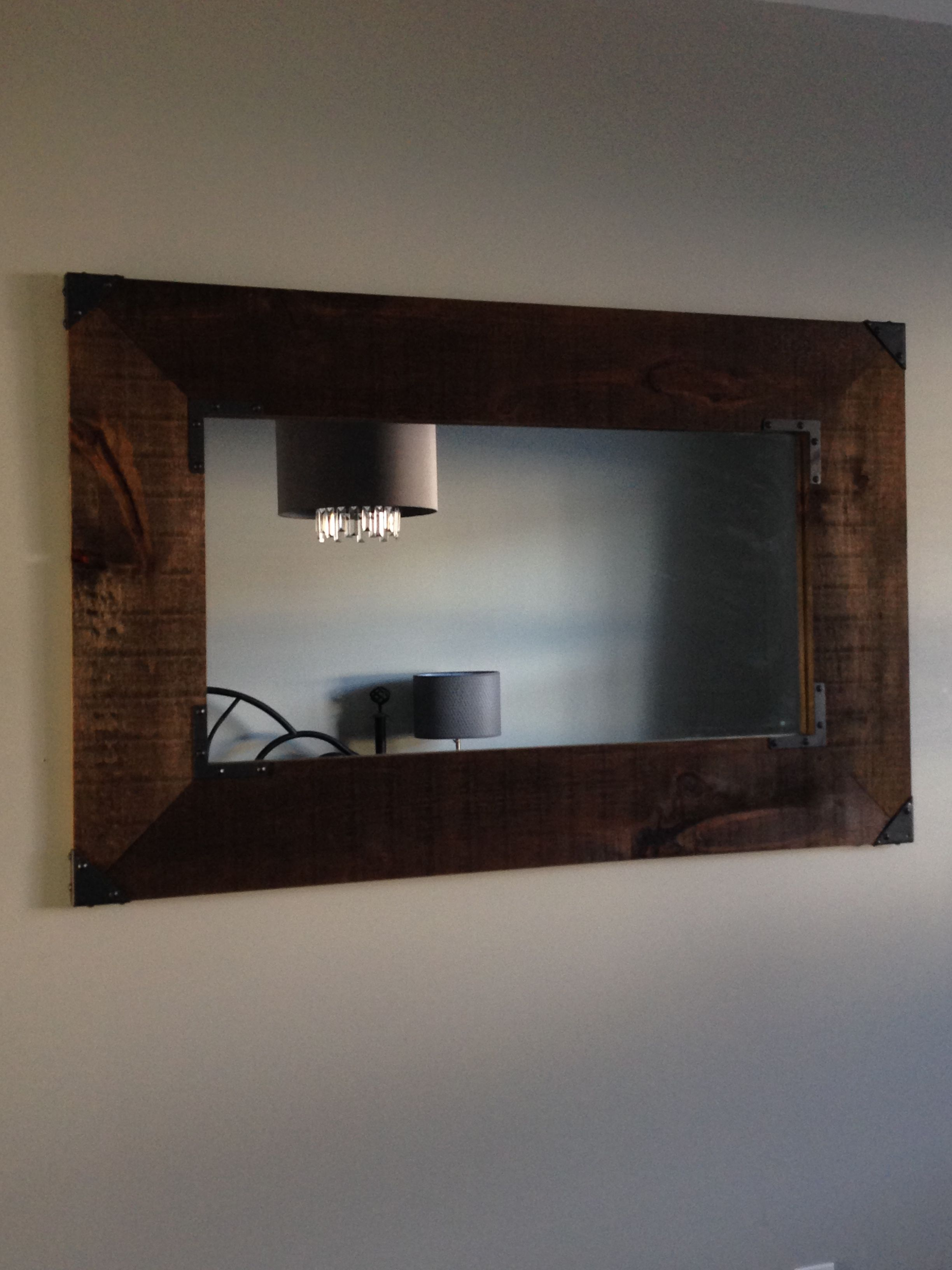 Custom Barn Board Mirror With Cast Iron Finishes By Bc Home