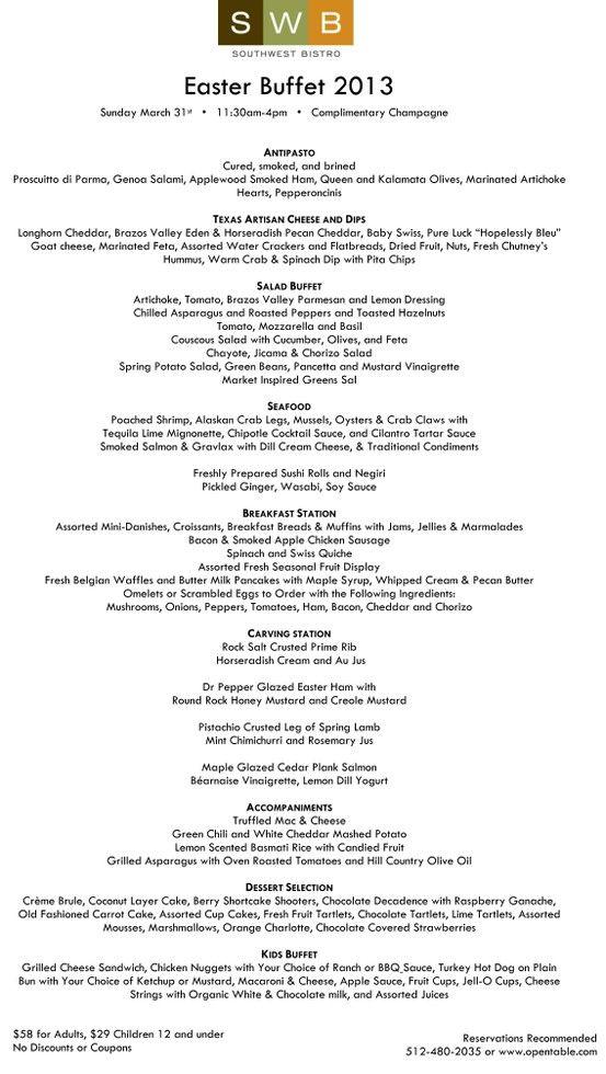 Hyatt Regency Austinu0027s delicious Easter Brunch Menu Sunday, March - career kids resume