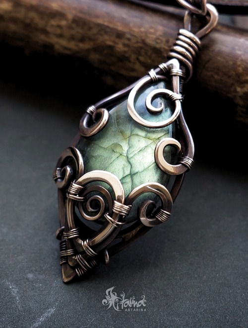 Labradorite and Copper Wire Weaved Necklace Victorian Filigree FREE SHIPPING