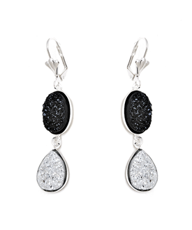Peermont Silver And Black Druzy Crystal Oval And Teardrop Drop Earrings