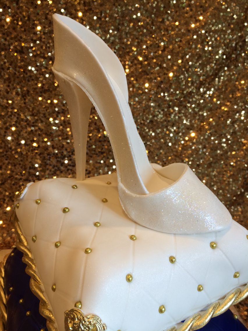 Pillow cakes with gum paste sparkly Cinderella shoe with fondant quilting, gold ropes and tassels. 10th birthday custom cake with name banner