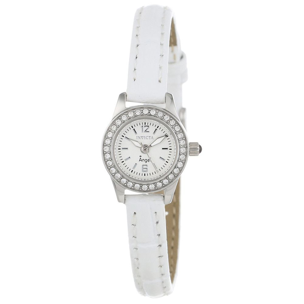 Invicta 13652 Women's Angel Crystal Accented Bezel White Dial White Leather Strap Watch