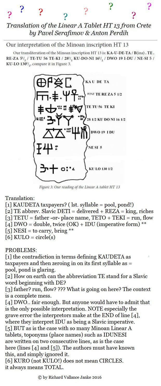 KEY POST: 2 vastly different decipherments of Minoan Linear A tablet