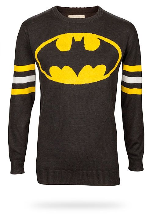 ThinkGeek presents: Batman Logo Sweater. Because everyone knows arm stripes are cool.
