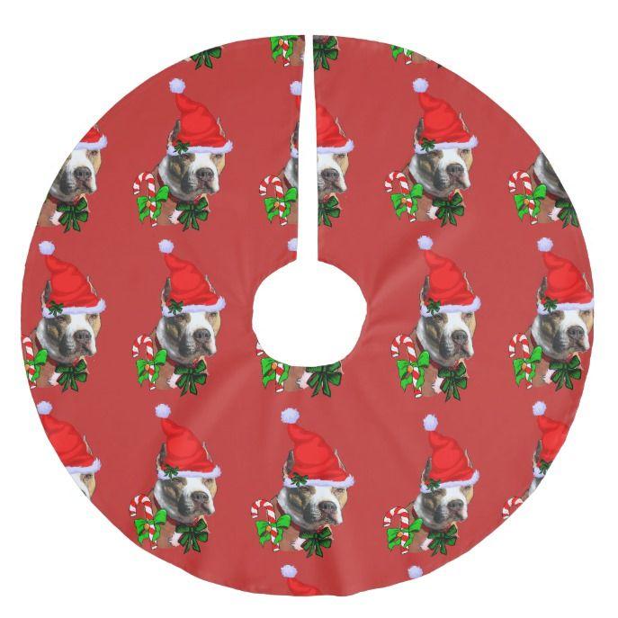 American Pit Bull Terrier Christmas Brushed Polyester Tree Skirt