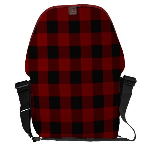 Rustic Red and Black Plaid Courier Bag
