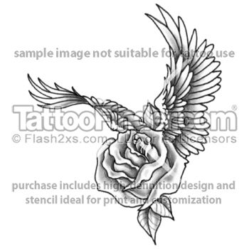 rose with wings tattoo design by edward lee tattoos pinterest tattoo designs tattoo and. Black Bedroom Furniture Sets. Home Design Ideas