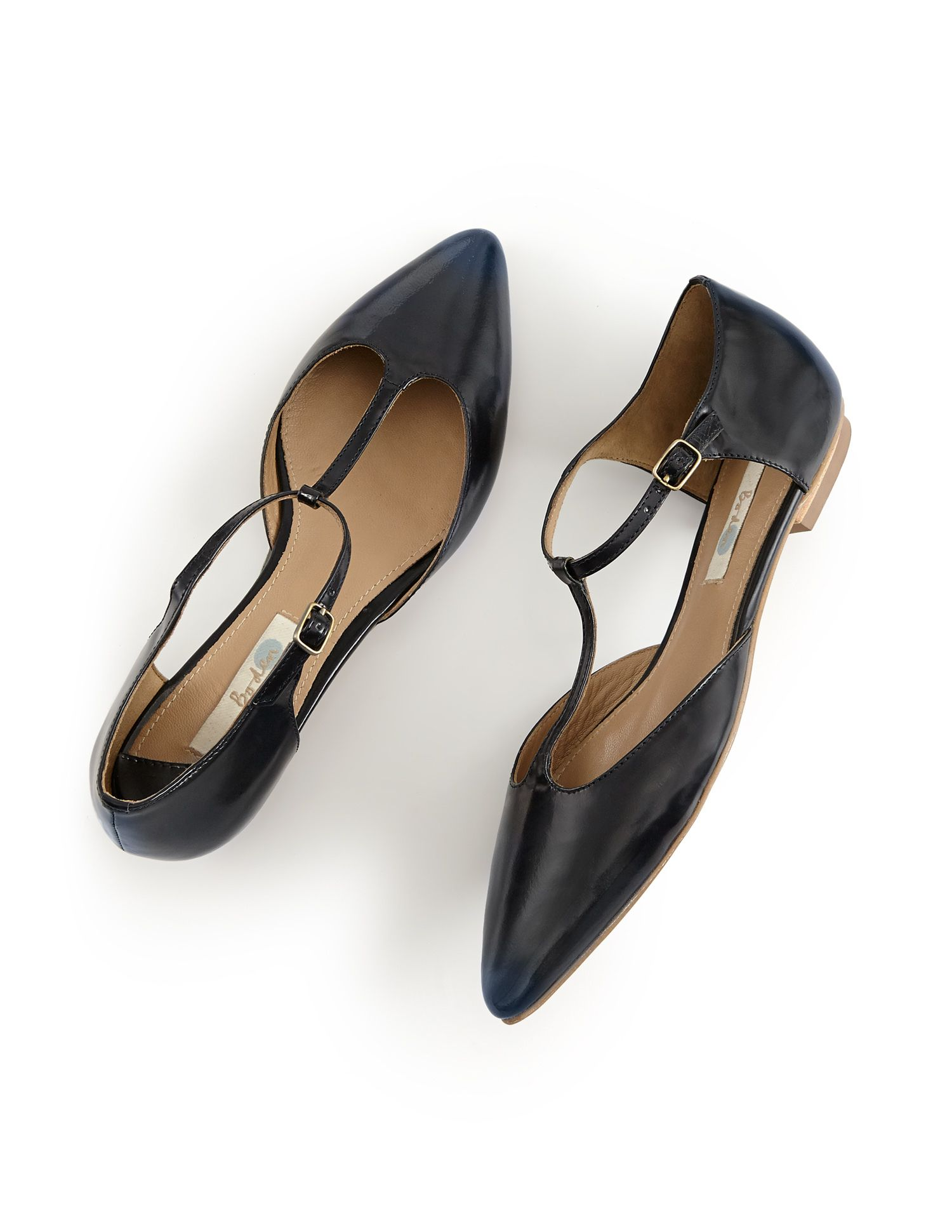 00c36513a323 Wear our flat t-bar pointed shoes with grey cotton tights this autumn for a  stylish