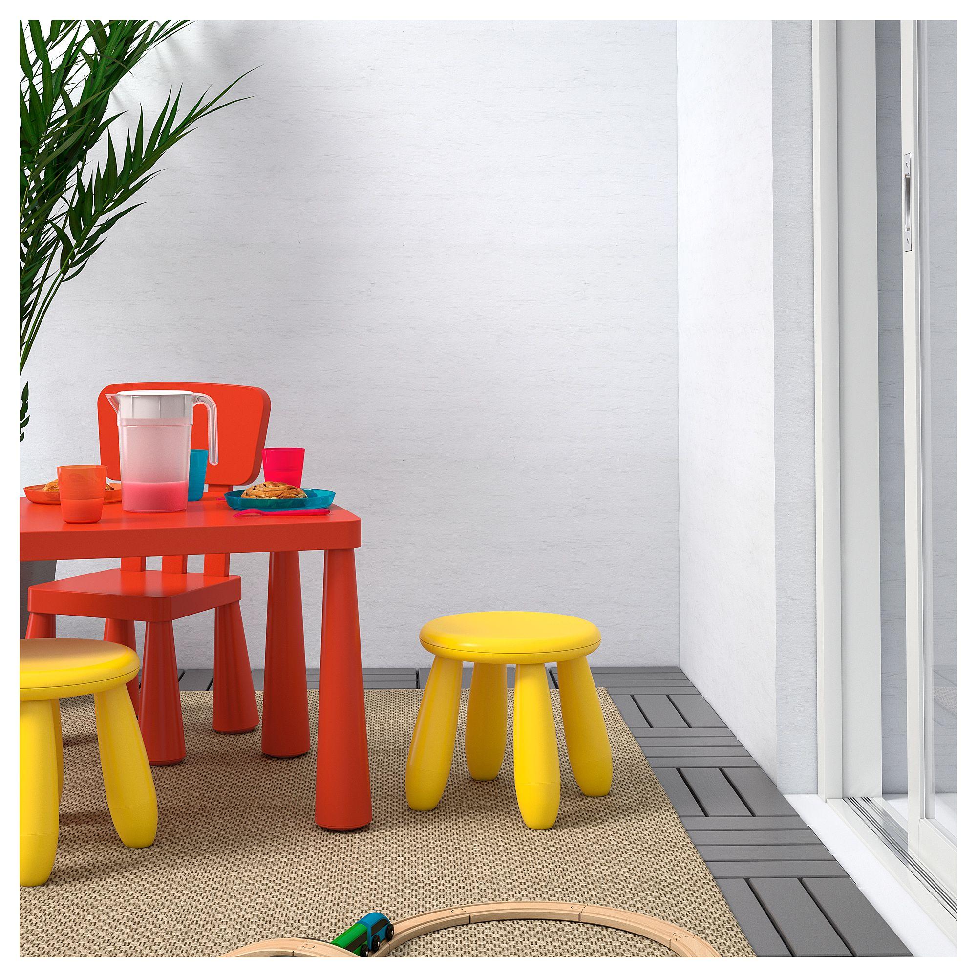 IKEA MAMMUT Children's stool indoor/outdoor, yellow