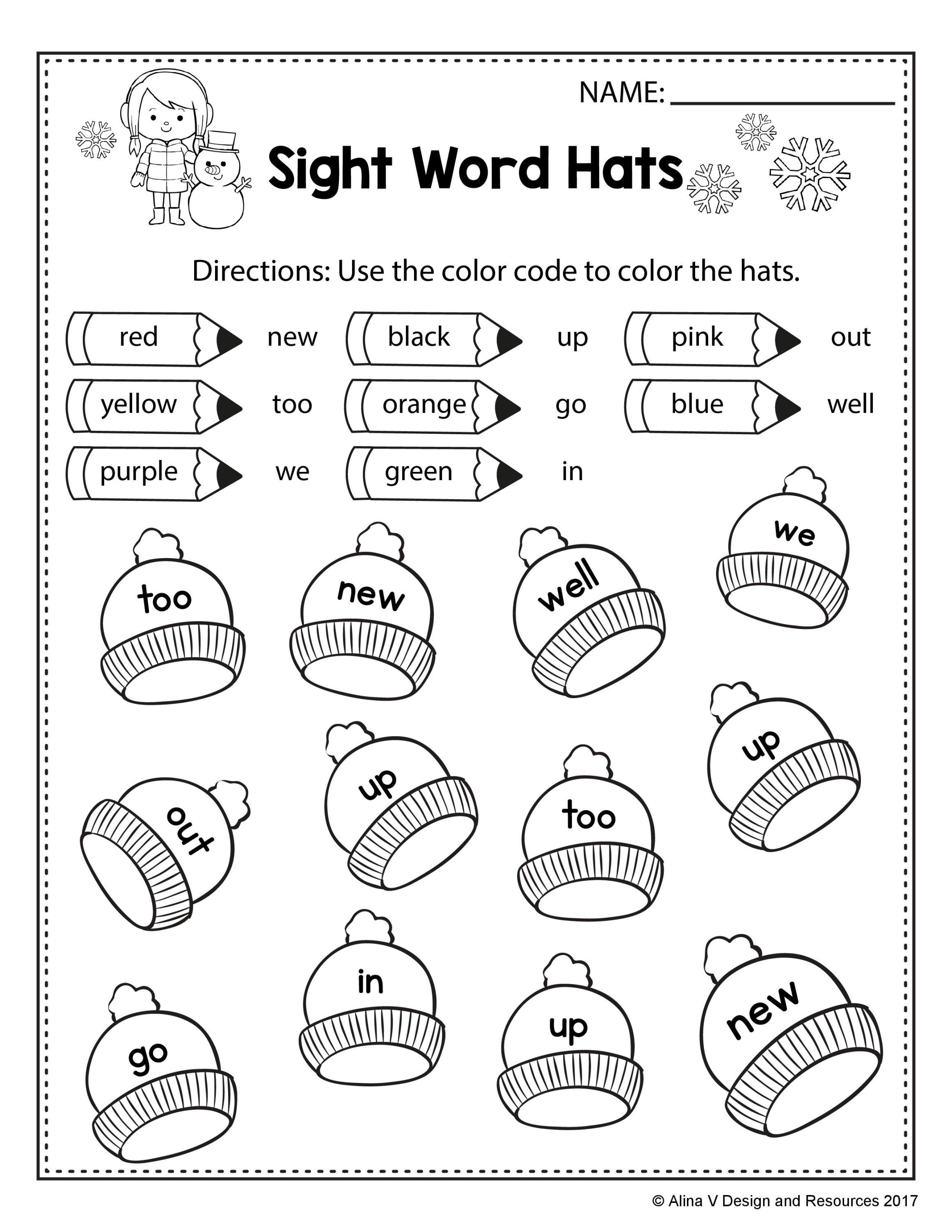 worksheet 1st Grade Sight Words Worksheets free winter literacy worksheet for kindergarten no prep alina v design sight word