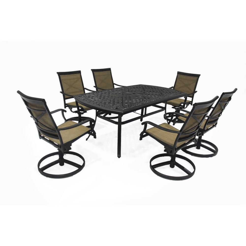Hampton Bay Covina 7 Piece Aluminum Outdoor Dining Set As J