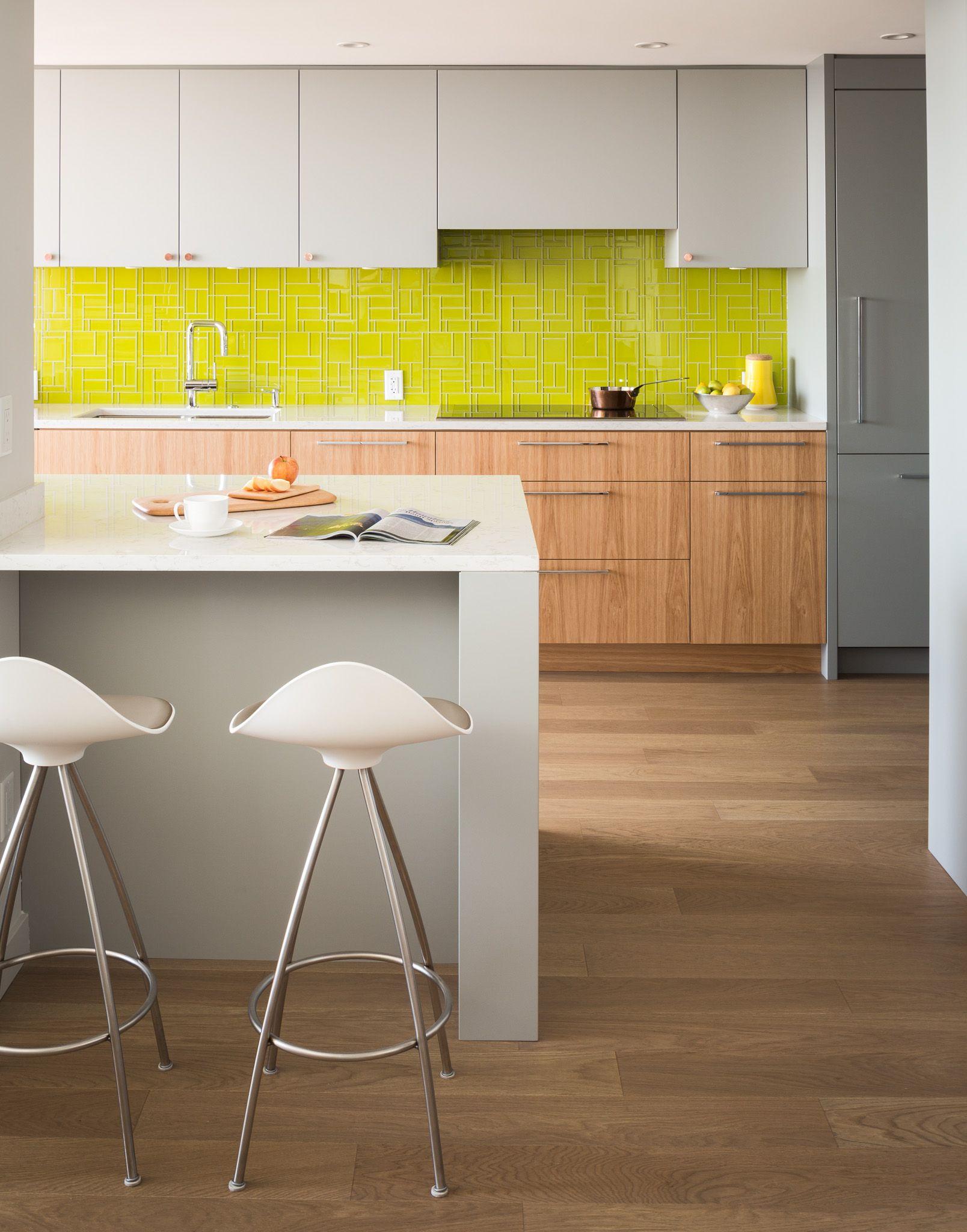 Kitchen Colourful backsplash with hickory cabinets
