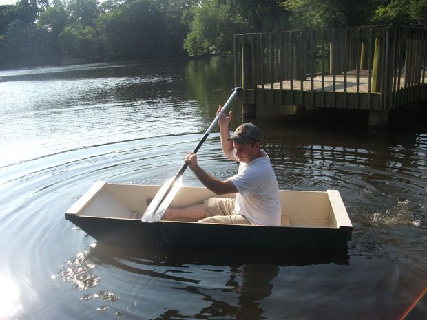 The BO-AT Single Sheet Plywood Boat - Build your own boat out of a single sheet of plywood! Can be powered by a small electric trolling motor.