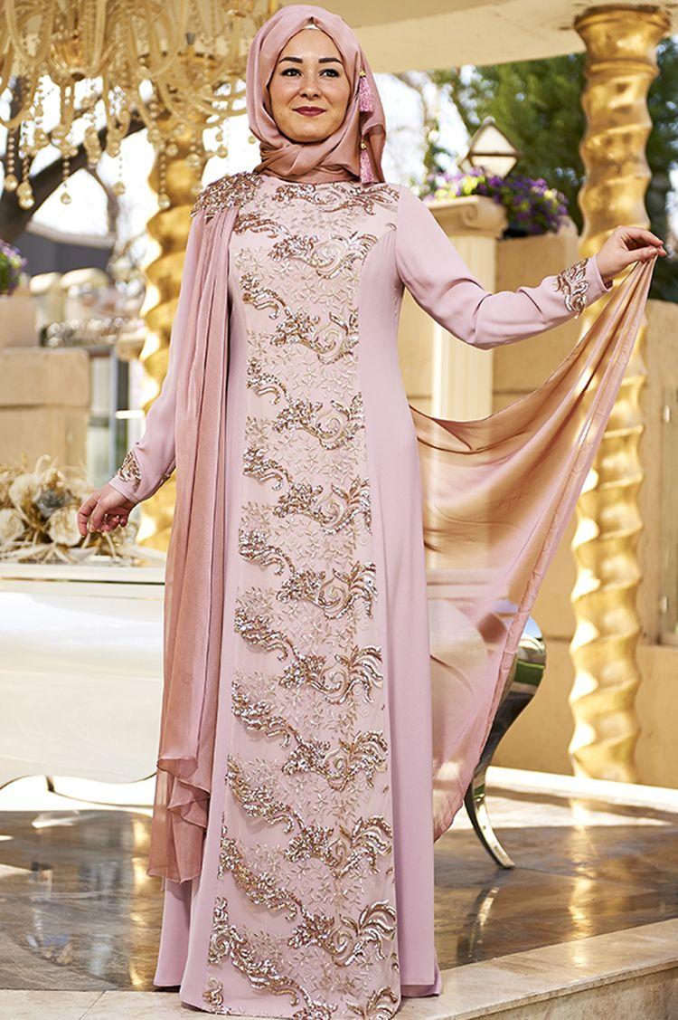 Yaren Buyuk Beden Abiye Pudra Moda Stilleri Giyim Ve Islami Moda