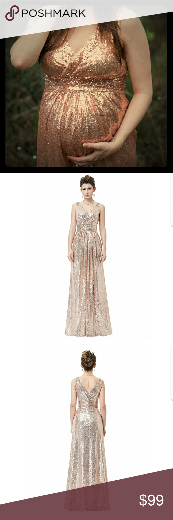 e6268bc6822 Rose Gold Blush Pink Sequin Maternity Dress Sequin Maternity Dress  Available in Champagne