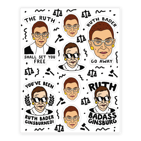 Sassy Ruth Bader Ginsburg Sticker Sheet Sticker And Decal Sheets Lookhuman Feminist Sticker Sticker Sheets Ruth Bader Ginsburg