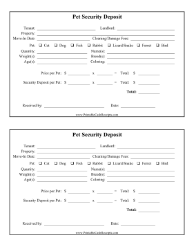 Pet Deposit Receipt Pets Dog Breeding Business Dog Breeding Kennels