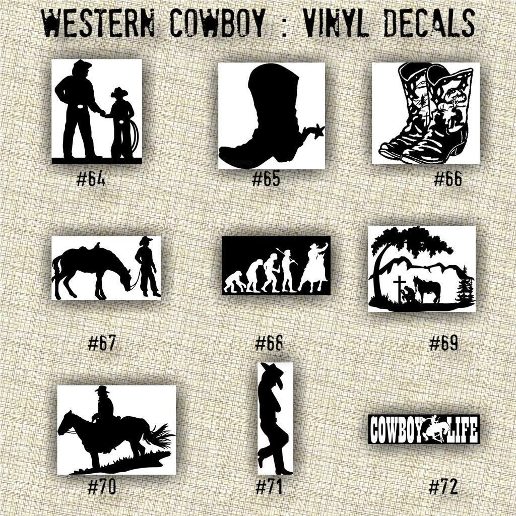 Small 5 6 cowboy vinyl decals car decal laptop sticker