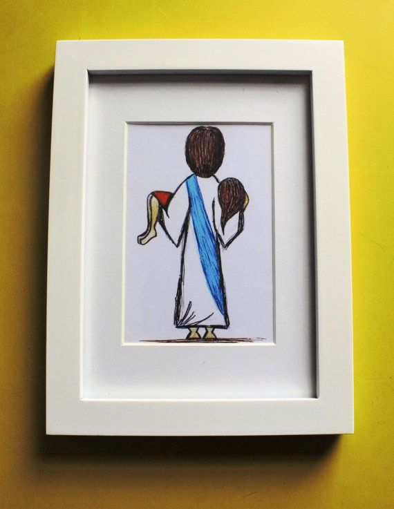 5x7 white framed and matted print of Jesus Carrying by Acrylics139 ...