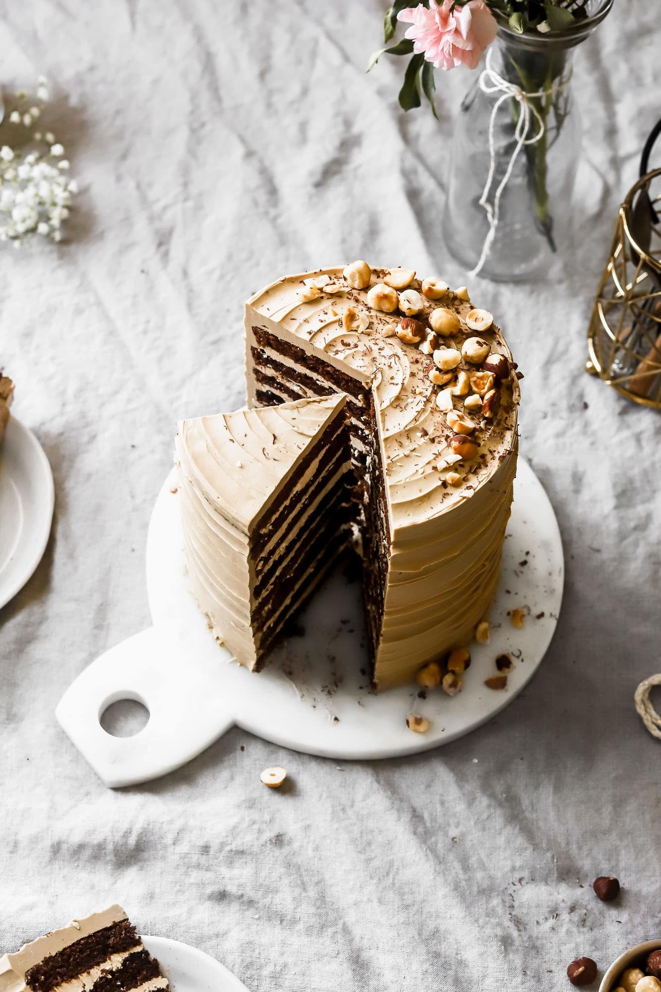 Mocha Cake with Coffee Swiss Meringue Buttercream