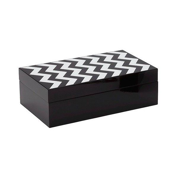 Black And White Decorative Boxes Torre & Tagus Zig Zag Lacquered Decorative Box  Blackwhite