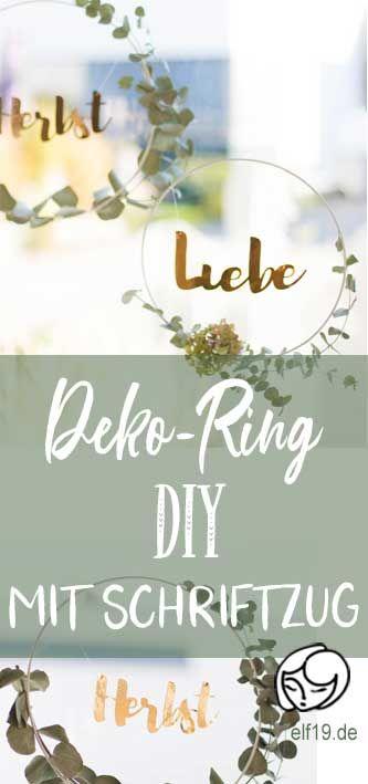 {Blick durchs Schlüsselloch: } Herbstliebe - Metallring mit Eukalyptus und goldenem Schriftzug - elf19.de Eukalyptus Ring mit Schriftzug
