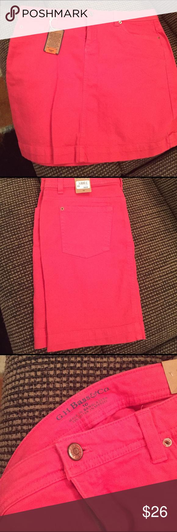 Bass Jean skirt Bass jean skirt in coral orange size 10. Brand new - never worn. Bass Skirts Mini