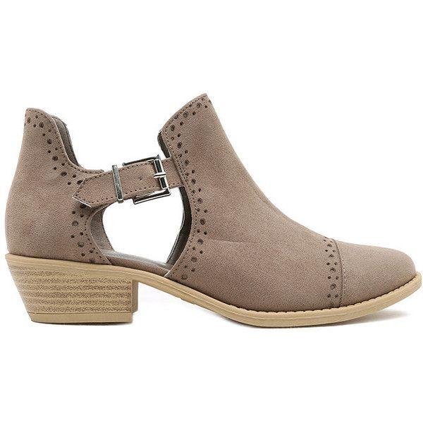 Suede Buckle Bootie Taupe (150 BRL) ❤ liked on Polyvore featuring shoes, boots, ankle booties, taupe boots, buckle booties, ankle boots, short suede boots and suede booties