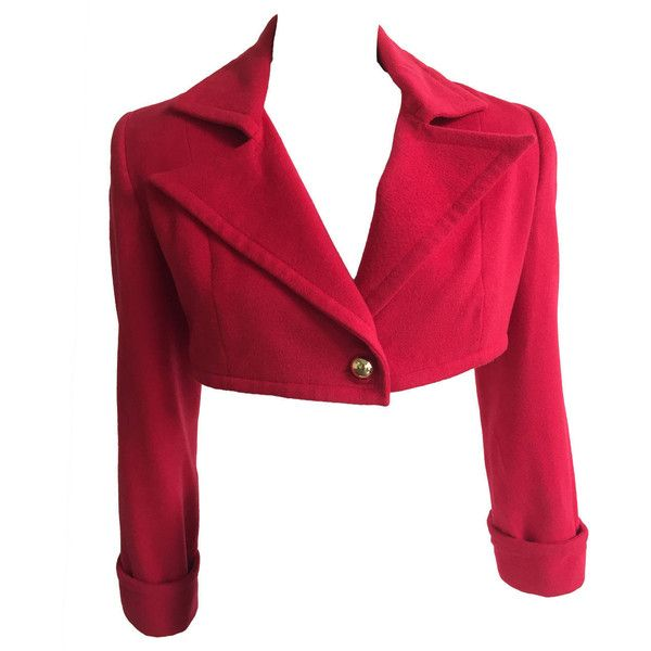 Preowned Patrick Kelly Paris 1988 Red Cropped Jacket Size 6. ($800) ❤ liked on Polyvore featuring outerwear, jackets, coats, coats & jackets, red, cropped jackets, red wool jacket, cropped jacket, red cropped jacket and red long jacket