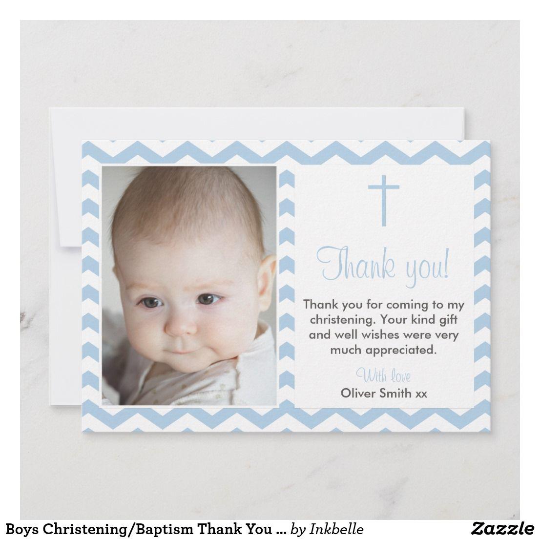 Boys Christening Baptism Thank You Card Zazzle Com Baptism Thank You Cards Thank You Card Wording Thank You Cards