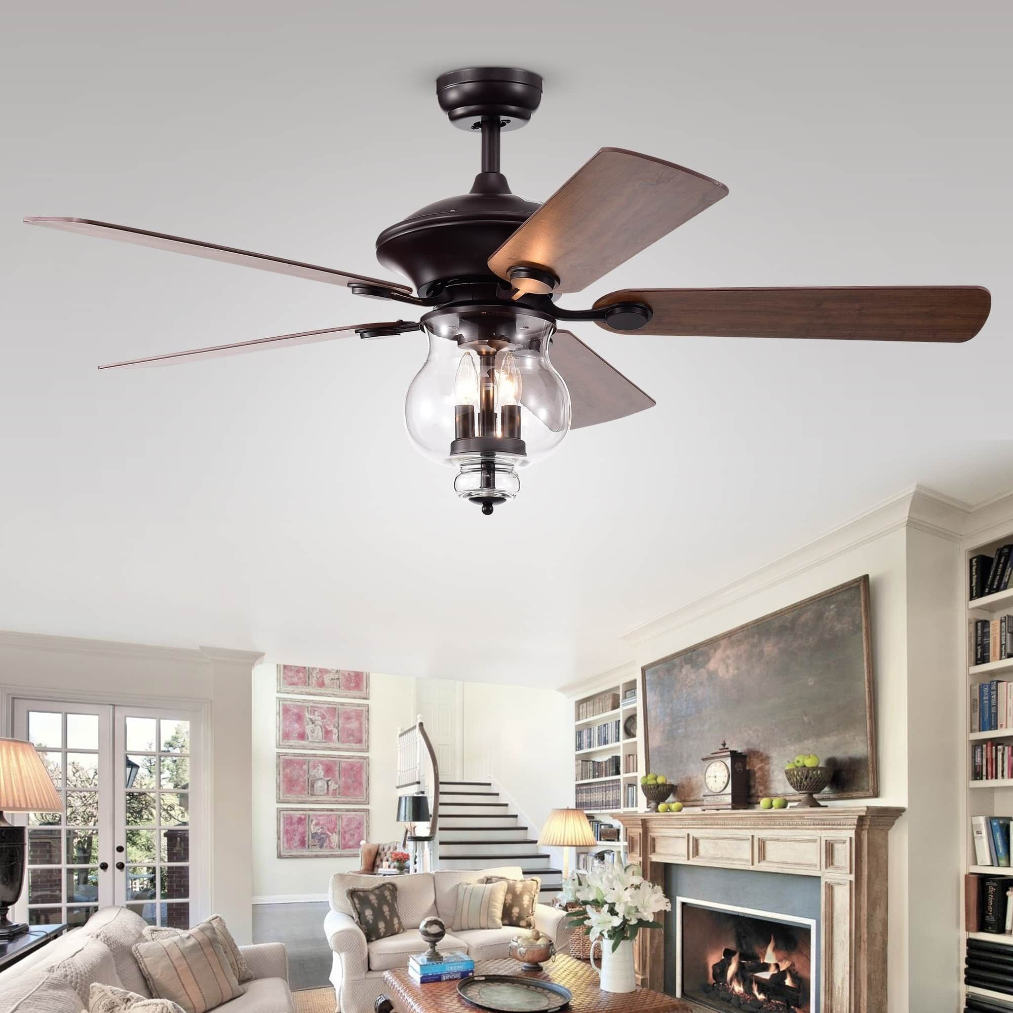 Topher 52Inch 5Blade Antique Bronze Lighted Ceiling Fans