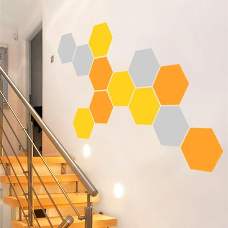 12 Honeycomb Geometric Hexagons Vinyl Wall Stickers Home Decor (Set ...