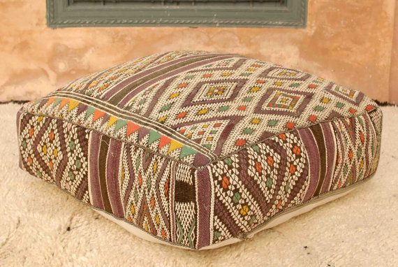 Unique One Of A Kind Berber Pouf Made From A Vintage Moroccan