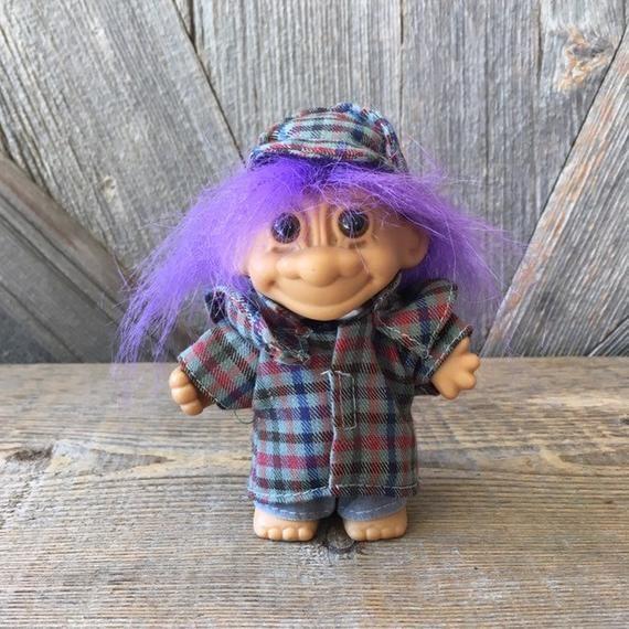 Vintage Detective Troll {Purple Hair} Russ Berrie {Sherlock Holmes Gift Troll Vintage Troll Doll 5 i