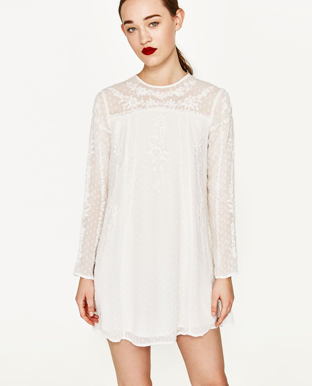 Image 2 Of Plumetis Dress With Embroidered Flowers From Zara