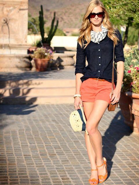 Coral shorts.