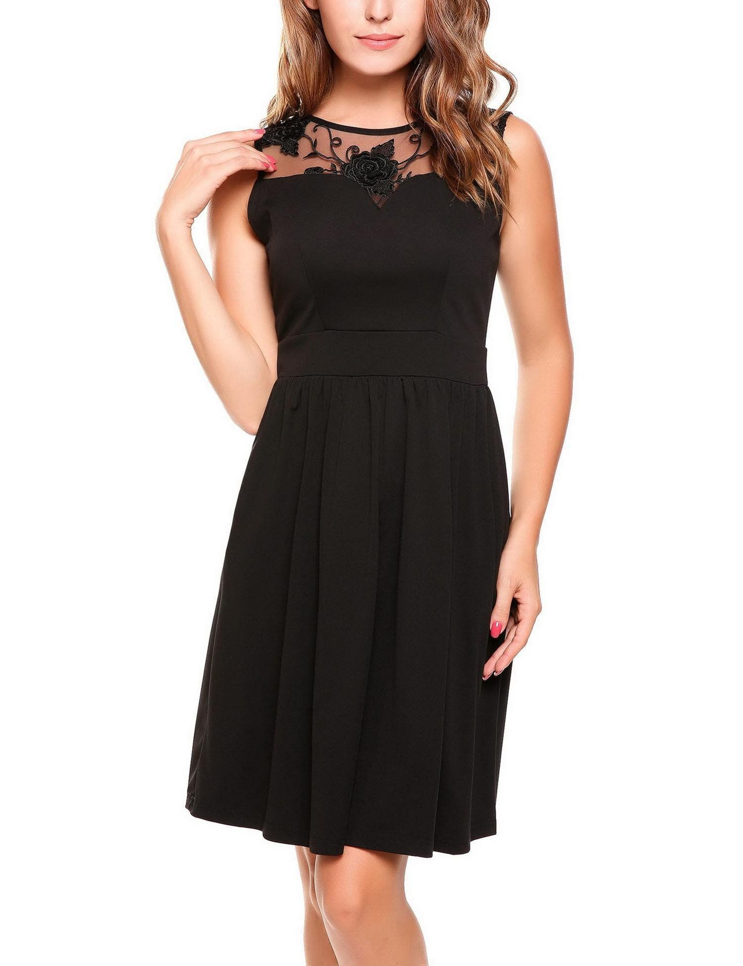 2f2276b88d47 BEAUTYTALK Womens Floral Lace Patchwork Sleeveless Swing Cocktail ALine  Dress Black Large -- More info could be found at the image url.