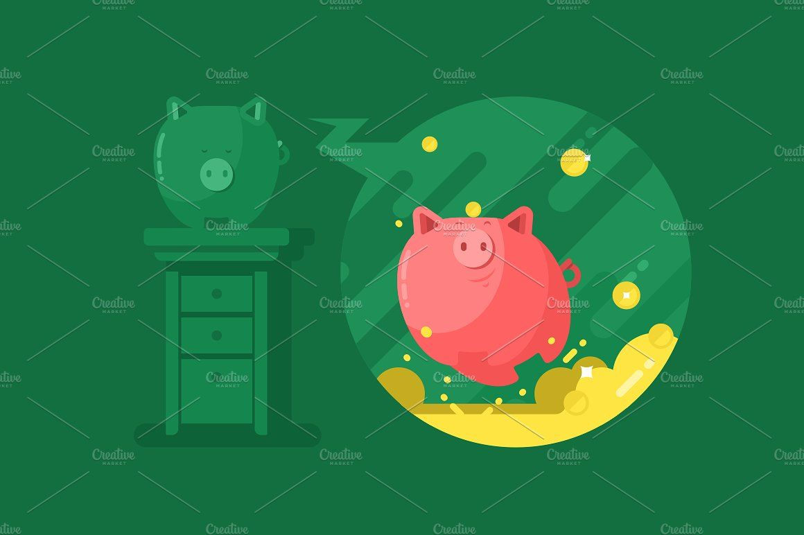 Piggy bank with money vector investment save files