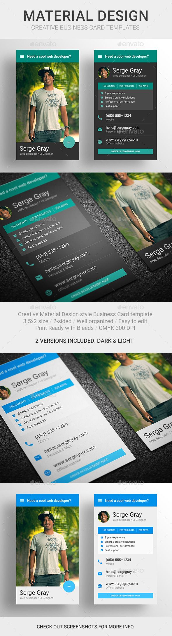 MaDe - Material Design Business Card Template | Material design ...