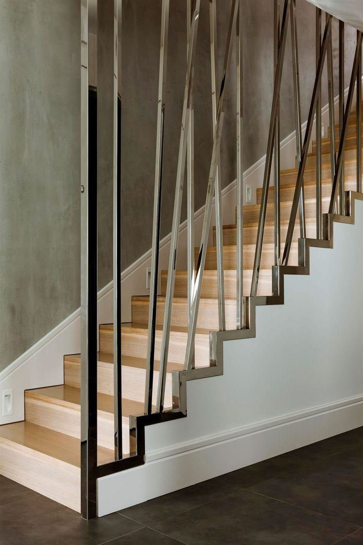 Warsaw Apartment Modern Staircase Black Tile Floors Wood Stairs ...