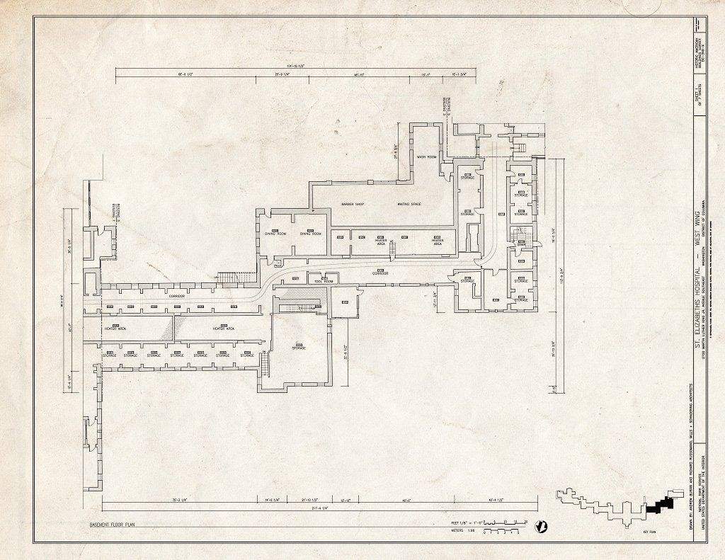 Blueprint 1 Basement Floor Plan St Elizabeths Hospital West Wing 539 559 Cedar Drive Southeast Washington District of Columbia DC