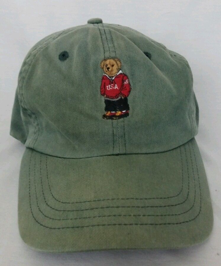 bb622b58f73 Mens Ralph Lauren Polo Bear Hat Polo Sport vintage EUC green Polo Bear   RalphLaurenPolo  BaseballCap