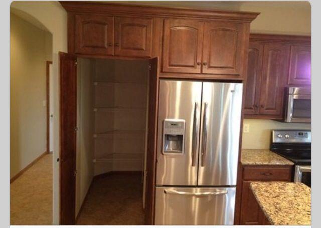 A hidden pantry behind the fridge Home Vision Pinterest Pantry