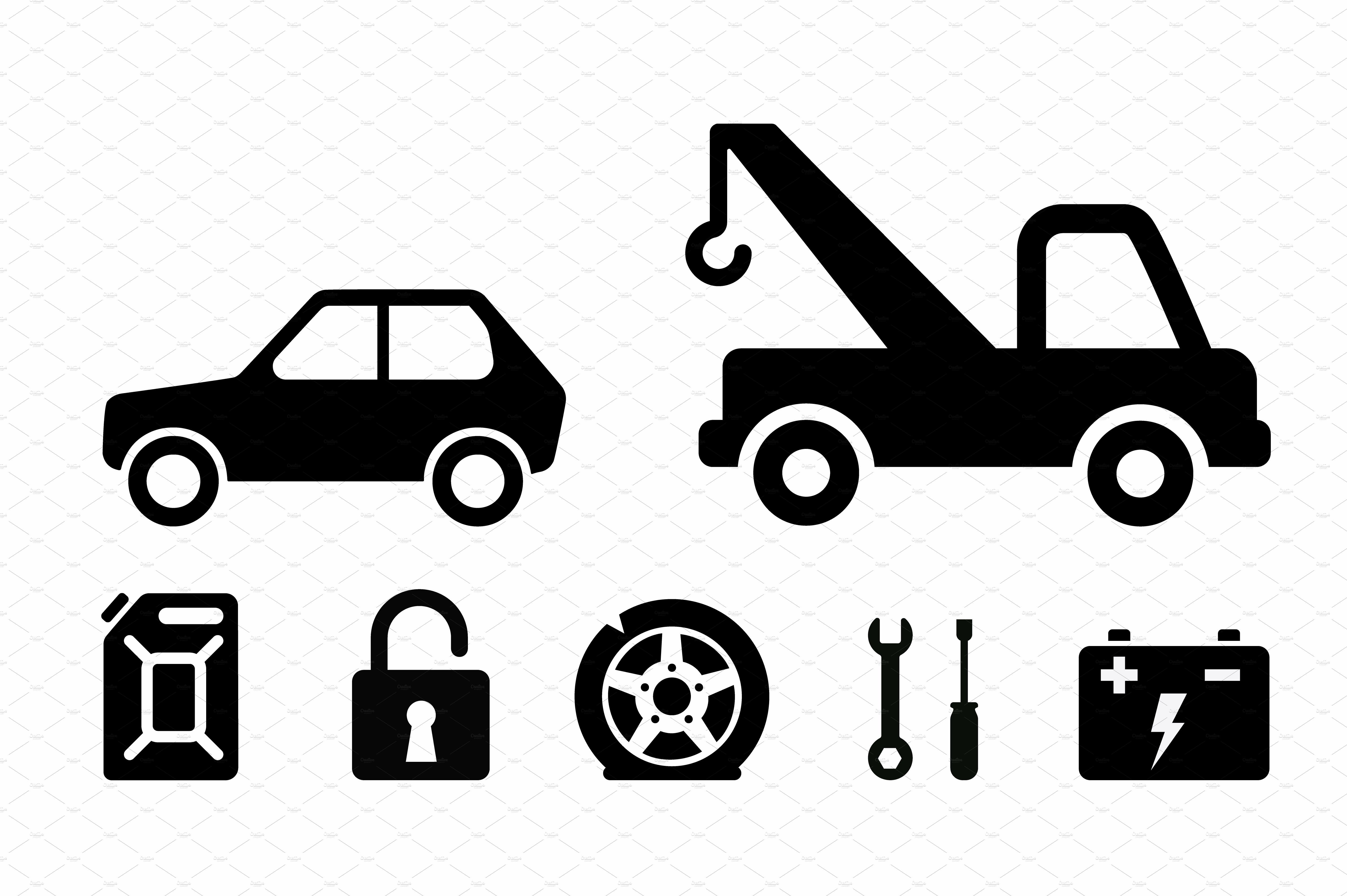 Towing Icons Set Icon Set Truck Icon Towing