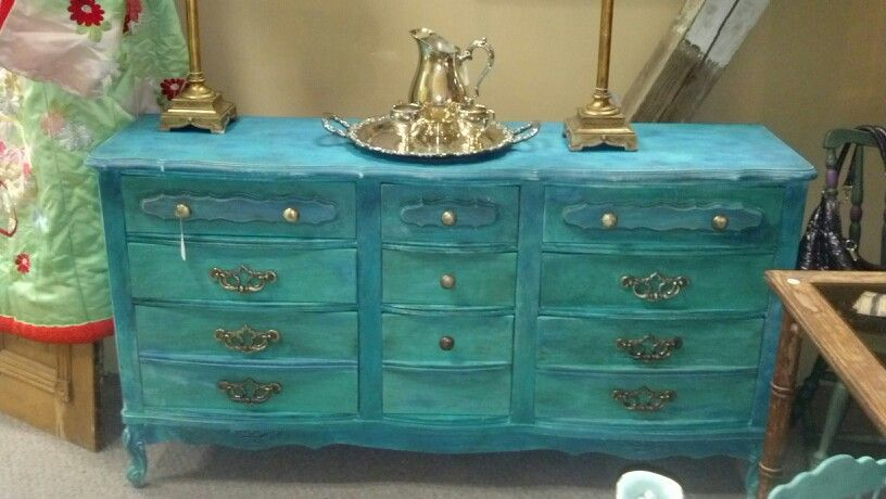 Large dresser painted with some acrylic, some ceecee caldwell's chalk paint vintage hardware.