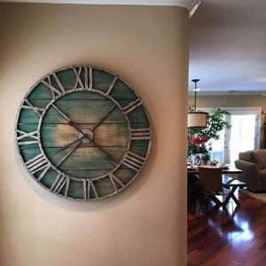 #pier1lovecontest ** Love this Pier1 Clock & my Pier1 dining table & bench in the background